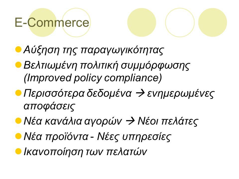 E-Commerce Αύξηση της παραγωγικότητας Βελτιωμένη πολιτική συμμόρφωσης (Improved policy compliance) Περισσότερα δεδομένα  ενημερωμένες αποφάσεις Νέα κανάλια αγορών  Νέοι πελάτες Νέα προϊόντα - Νέες υπηρεσίες Ικανοποίηση των πελατών