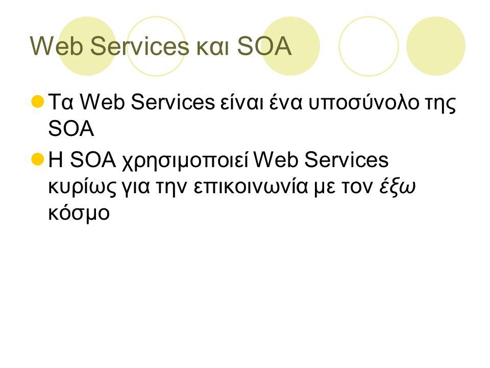 Web Services και SOA Τα Web Services είναι ένα υποσύνολο της SOA Η SOA χρησιμοποιεί Web Services κυρίως για την επικοινωνία με τον έξω κόσμο