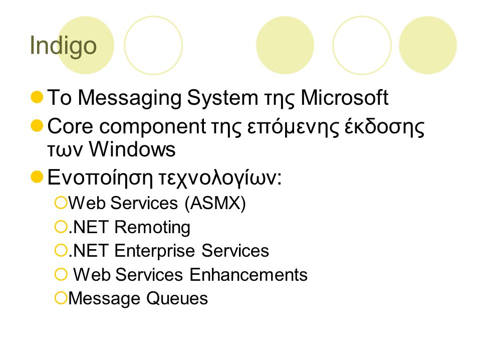 Indigo Το Messaging System της Microsoft Core component της επόμενης έκδοσης των Windows Ενοποίηση τεχνολογίων:  Web Services (ASMX) .NET Remoting .NET Enterprise Services  Web Services Enhancements  Message Queues