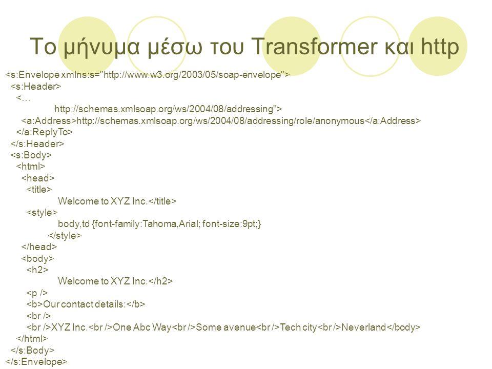 Το μήνυμα μέσω του Transformer και http <… http://schemas.xmlsoap.org/ws/2004/08/addressing