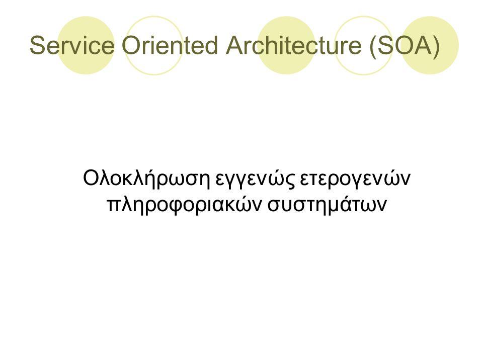 Service Oriented Architecture (SOA) Ολοκλήρωση εγγενώς ετερογενών πληροφοριακών συστημάτων