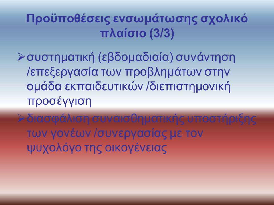 Προϋποθέσεις ενσωμάτωσης σχολικό πλαίσιο (3/3)  συστηματική (εβδομαδιαία) συνάντηση /επεξεργασία των προβλημάτων στην ομάδα εκπαιδευτικών /διεπιστημο