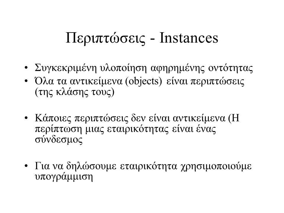 Περιπτώσεις - Instances Συγκεκριμένη υλοποίηση αφηρημένης οντότητας Όλα τα αντικείμενα (objects) είναι περιπτώσεις (της κλάσης τους) Κάποιες περιπτώσε