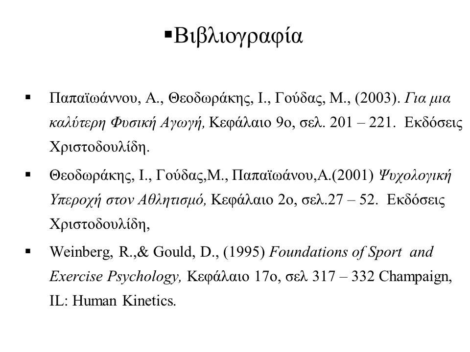  Βιβλιογραφία  Παπαϊωάννου, Α., Θεοδωράκης, Ι., Γούδας, Μ., (2003). Για μια καλύτερη Φυσική Αγωγή, Κεφάλαιο 9ο, σελ. 201 – 221. Εκδόσεις Χριστοδουλί