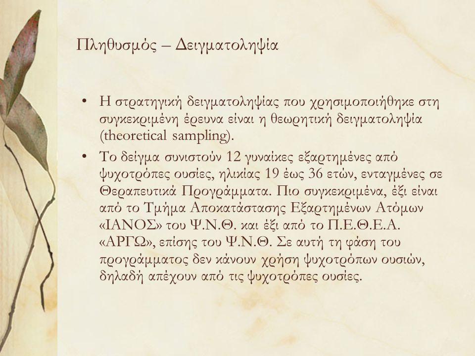 Πληθυσμός – Δειγματοληψία Η στρατηγική δειγματοληψίας που χρησιμοποιήθηκε στη συγκεκριμένη έρευνα είναι η θεωρητική δειγματοληψία (theoretical sampling).