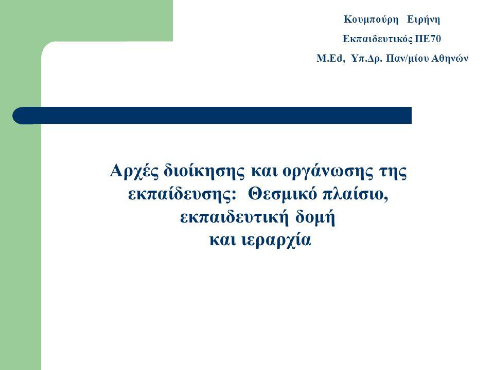 Αρχές διοίκησης και οργάνωσης της εκπαίδευσης: Θεσμικό πλαίσιο, εκπαιδευτική δομή και ιεραρχία Κουμπούρη Ειρήνη Εκπαιδευτικός ΠΕ70 M.Ed, Υπ.Δρ.