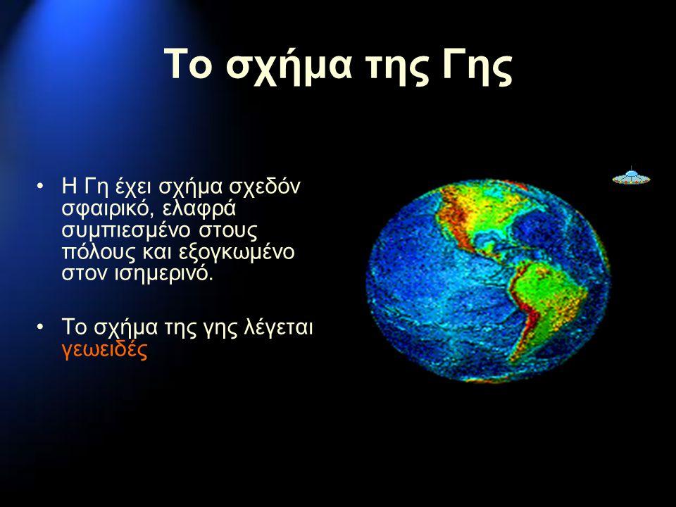 Το σχήμα της Γης Η Γη έχει σχήμα σχεδόν σφαιρικό, ελαφρά συμπιεσμένο στους πόλους και εξογκωμένο στον ισημερινό. Το σχήμα της γης λέγεται γεωειδές.