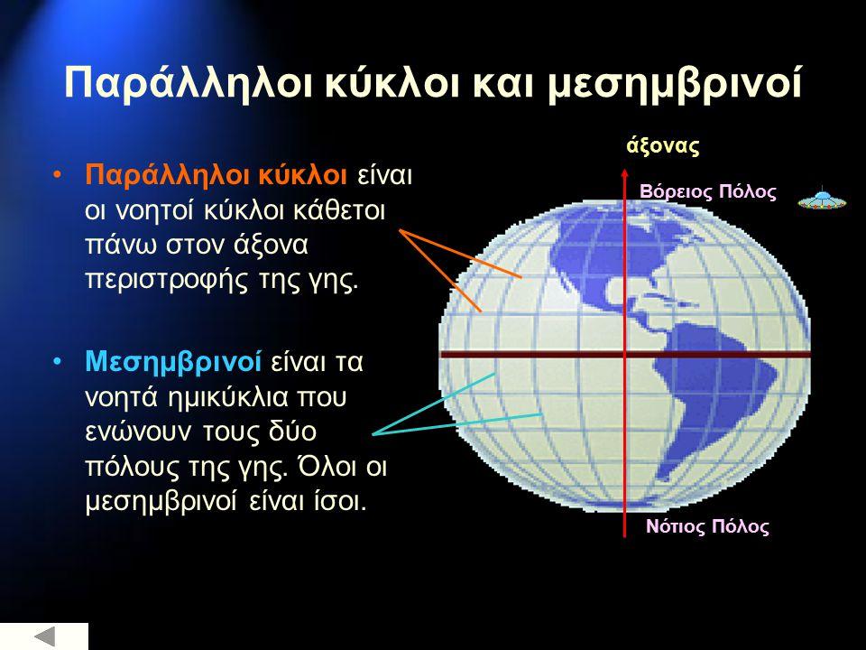 Παράλληλοι κύκλοι και μεσημβρινοί Παράλληλοι κύκλοι είναι οι νοητοί κύκλοι κάθετοι πάνω στον άξονα περιστροφής της γης. Μεσημβρινοί είναι τα νοητά ημι