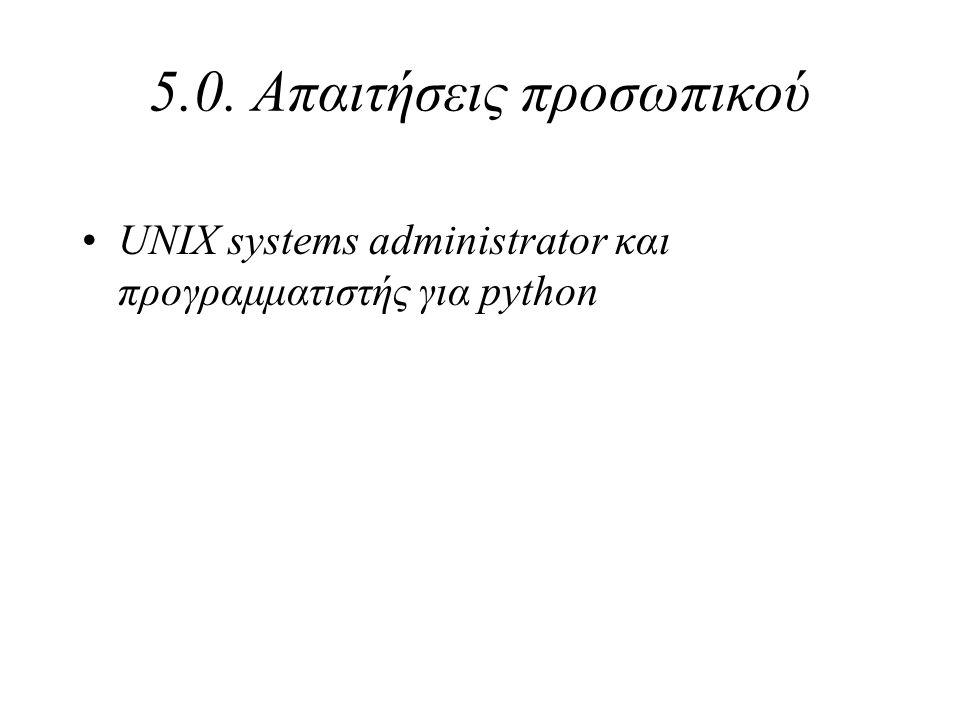 5.0. Απαιτήσεις προσωπικού UNIX systems administrator και προγραμματιστής για python
