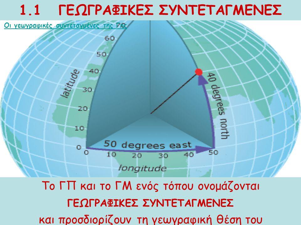 1.1 ΓΕΩΓΡΑΦΙΚΕΣ ΣΥΝΤΕΤΑΓΜΕΝΕΣ Το ΓΠ και το ΓΜ ενός τόπου ονομάζονται ΓΕΩΓΡΑΦΙΚΕΣ ΣΥΝΤΕΤΑΓΜΕΝΕΣ και προσδιορίζουν τη γεωγραφική θέση του Οι γεωγραφικές
