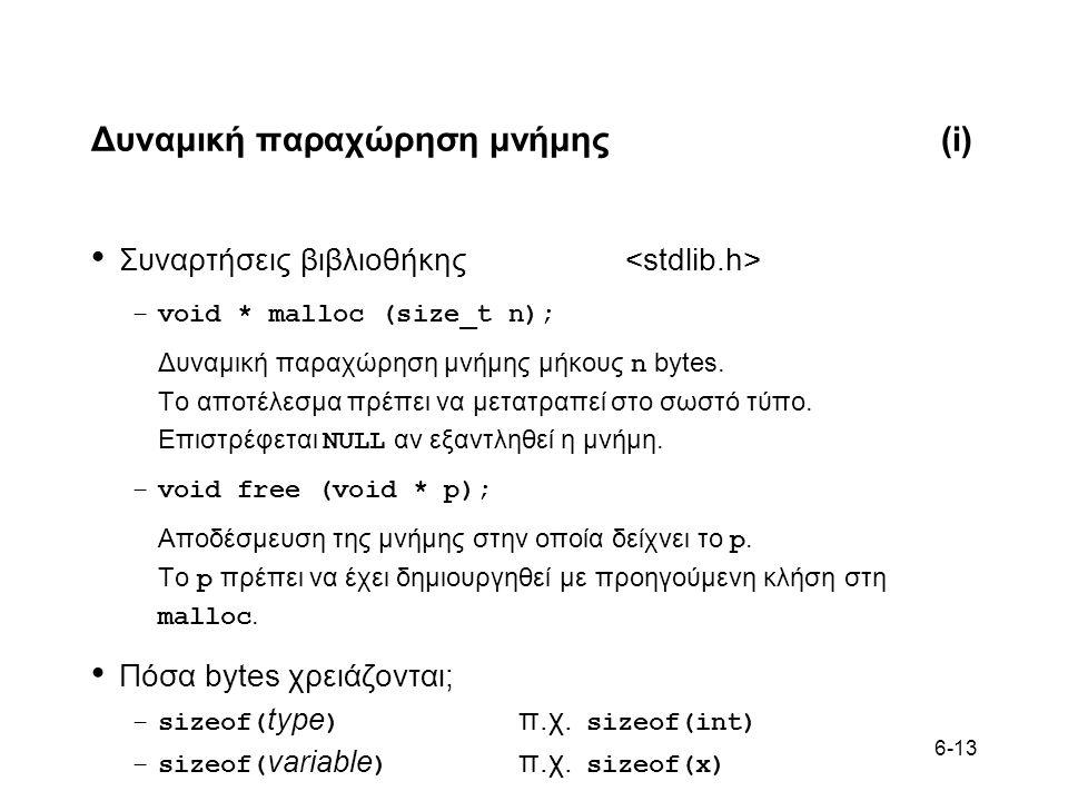 6-13 Δυναμική παραχώρηση μνήμης(i) Συναρτήσεις βιβλιοθήκης –void * malloc (size_t n); Δυναμική παραχώρηση μνήμης μήκους n bytes.