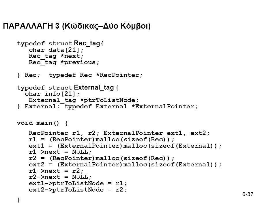 6-37 ΠΑΡΑΛΛΑΓΗ 3 (Κώδικας–Δύο Κόμβοι) typedef struct Rec_tag { char data[21]; Rec_tag *next; Rec_tag *previous; } Rec; typedef Rec *RecPointer; typedef struct External_tag { char info[21]; External_tag *ptrToListNode; } External; typedef External *ExternalPointer; void main() { RecPointer r1, r2; ExternalPointer ext1, ext2; r1 = (RecPointer)malloc(sizeof(Rec)); ext1 = (ExternalPointer)malloc(sizeof(External)); r1->next = NULL; r2 = (RecPointer)malloc(sizeof(Rec)); ext2 = (ExternalPointer)malloc(sizeof(External)); r1->next = r2; r2->next = NULL; ext1->ptrToListNode = r1; ext2->ptrToListNode = r2; }