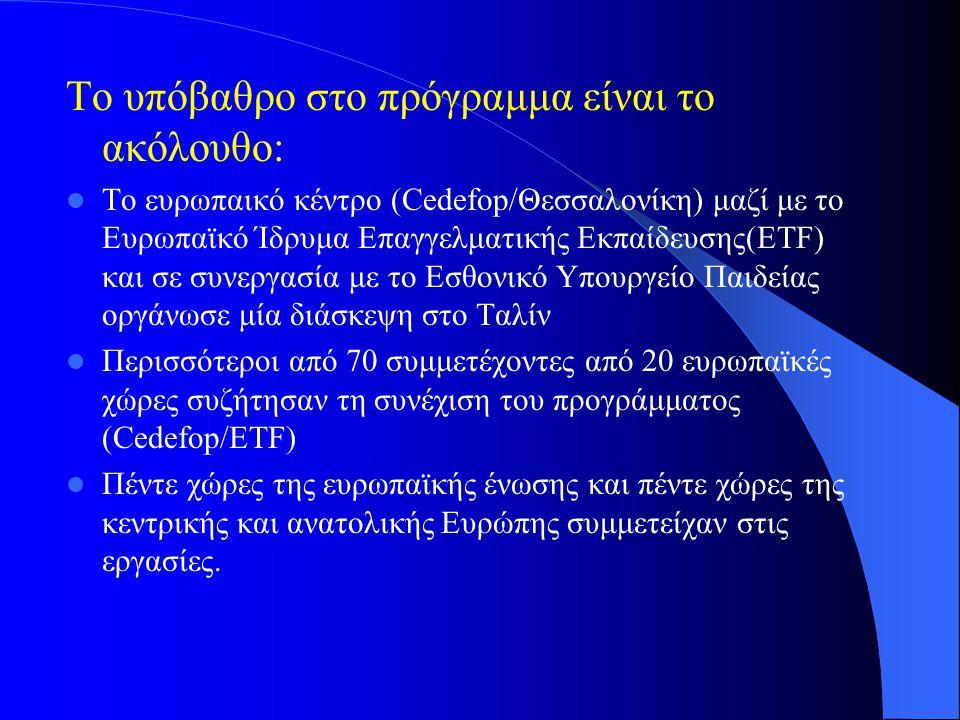 Το υπόβαθρο στο πρόγραμμα είναι το ακόλουθο: Το ευρωπαικό κέντρο (Cedefop/Θεσσαλονίκη) μαζί με το Ευρωπαϊκό Ίδρυμα Επαγγελματικής Εκπαίδευσης(ETF) και σε συνεργασία με το Εσθονικό Υπουργείο Παιδείας οργάνωσε μία διάσκεψη στο Ταλίν Περισσότεροι από 70 συμμετέχοντες από 20 ευρωπαϊκές χώρες συζήτησαν τη συνέχιση του προγράμματος (Cedefop/ETF) Πέντε χώρες της ευρωπαϊκής ένωσης και πέντε χώρες της κεντρικής και ανατολικής Ευρώπης συμμετείχαν στις εργασίες.