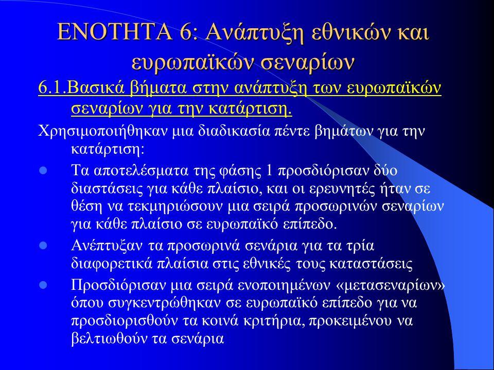 ΕΝΟΤΗΤΑ 6: Ανάπτυξη εθνικών και ευρωπαϊκών σεναρίων 6.1.Βασικά βήματα στην ανάπτυξη των ευρωπαϊκών σεναρίων για την κατάρτιση. Χρησιμοποιήθηκαν μια δι