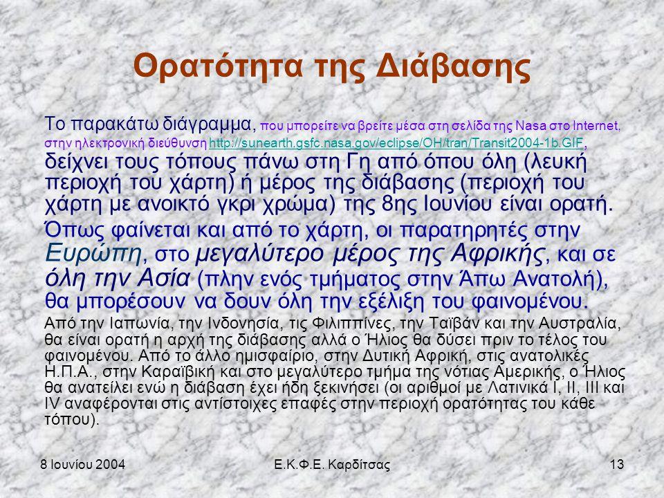 8 Ιουνίου 2004Ε.Κ.Φ.Ε. Καρδίτσας12 Διαβάσεις Αφροδίτης 1601 - 2200 Διαβάσεις Δεκεμβρίου (αναβιβάζων σύνδεσμος) 7 - 12 - 1631 4 - 12 - 1639 9 - 12 - 18