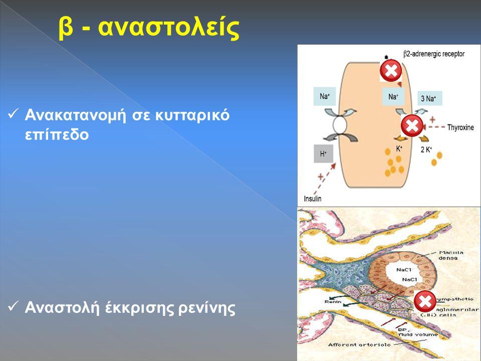 β - αναστολείς Ανακατανομή σε κυτταρικό επίπεδο Αναστολή έκκρισης ρενίνης