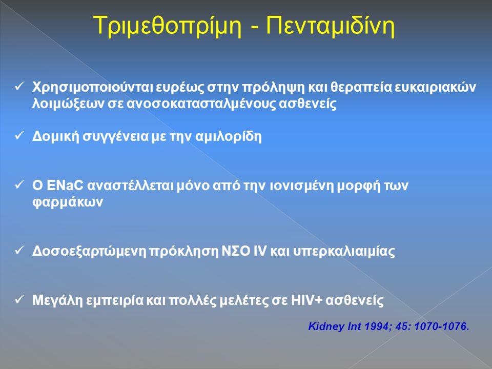 Τριμεθοπρίμη - Πενταμιδίνη Χρησιμοποιούνται ευρέως στην πρόληψη και θεραπεία ευκαιριακών λοιμώξεων σε ανοσοκατασταλμένους ασθενείς Δομική συγγένεια με την αμιλορίδη Ο ENaC αναστέλλεται μόνο από την ιονισμένη μορφή των φαρμάκων Δοσοεξαρτώμενη πρόκληση ΝΣΟ IV και υπερκαλιαιμίας Μεγάλη εμπειρία και πολλές μελέτες σε HIV+ ασθενείς Kidney Int 1994; 45: 1070-1076.