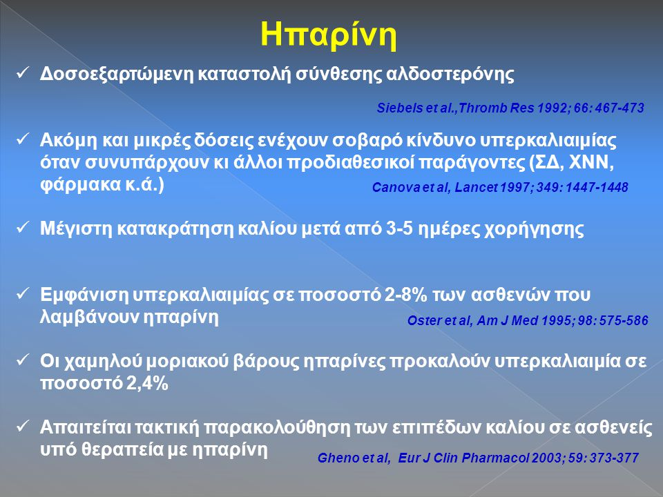 Ηπαρίνη Δοσοεξαρτώμενη καταστολή σύνθεσης αλδοστερόνης Ακόμη και μικρές δόσεις ενέχουν σοβαρό κίνδυνο υπερκαλιαιμίας όταν συνυπάρχουν κι άλλοι προδιαθεσικοί παράγοντες (ΣΔ, ΧΝΝ, φάρμακα κ.ά.) Μέγιστη κατακράτηση καλίου μετά από 3-5 ημέρες χορήγησης Εμφάνιση υπερκαλιαιμίας σε ποσοστό 2-8% των ασθενών που λαμβάνουν ηπαρίνη Οι χαμηλού μοριακού βάρους ηπαρίνες προκαλούν υπερκαλιαιμία σε ποσοστό 2,4% Απαιτείται τακτική παρακολούθηση των επιπέδων καλίου σε ασθενείς υπό θεραπεία με ηπαρίνη Siebels et al.,Thromb Res 1992; 66: 467-473 Canova et al, Lancet 1997; 349: 1447-1448 Oster et al, Am J Med 1995; 98: 575-586 Gheno et al, Eur J Clin Pharmacol 2003; 59: 373-377