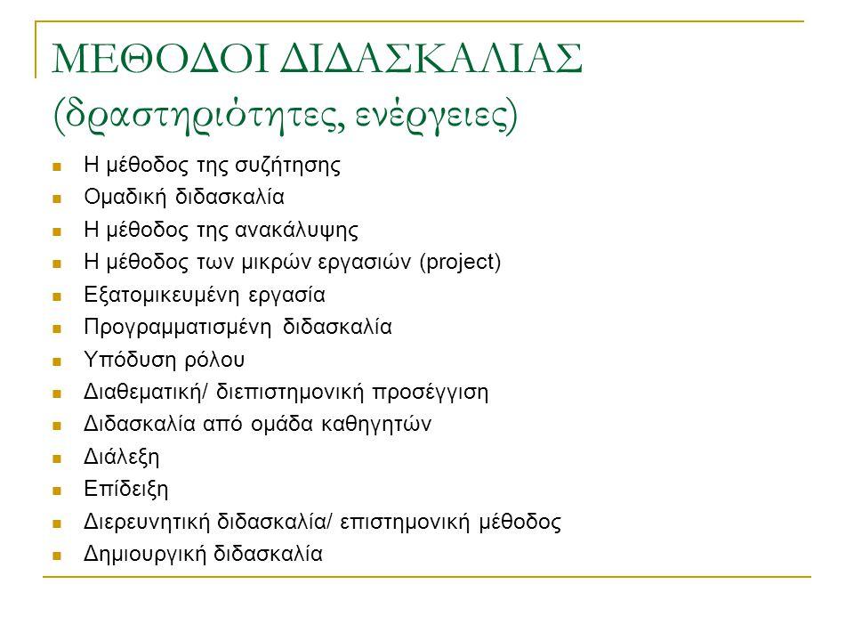 ΜΕΘΟΔΟΙ ΔΙΔΑΣΚΑΛΙΑΣ (δραστηριότητες, ενέργειες) Η μέθοδος της συζήτησης Ομαδική διδασκαλία Η μέθοδος της ανακάλυψης Η μέθοδος των μικρών εργασιών (pro