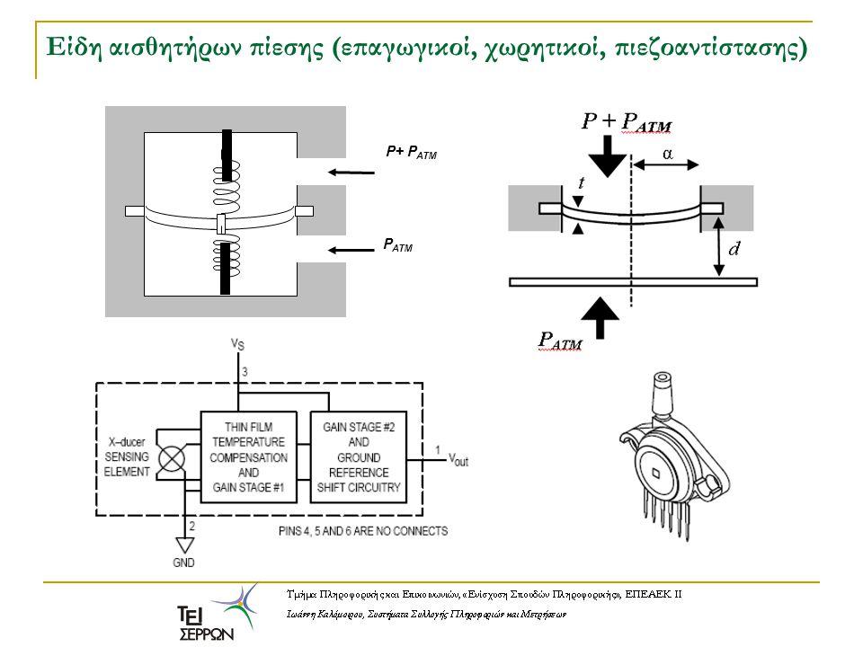 Είδη αισθητήρων πίεσης (επαγωγικοί, χωρητικοί, πιεζοαντίστασης) P+ P ATM P ATM