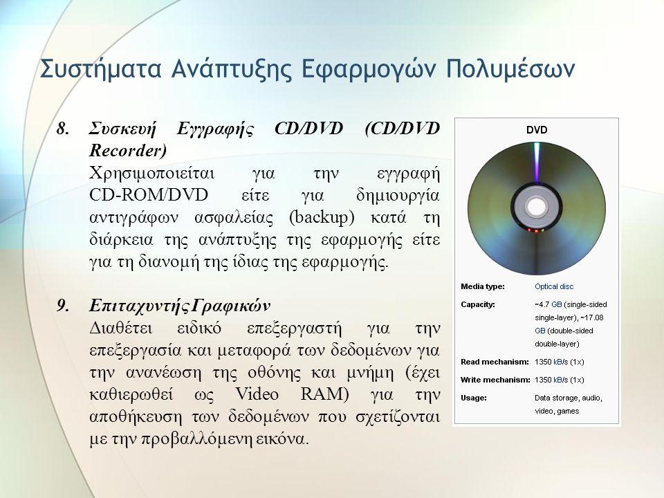 Συστήματα Ανάπτυξης Εφαρμογών Πολυμέσων 4.Μικρόφωνο 5.Ψηφιακό Κασετόφωνο (Digital Audio Tape) Χρησιμοποιείται για την εγγραφή ήχων ή μουσικής. Κύριο χ