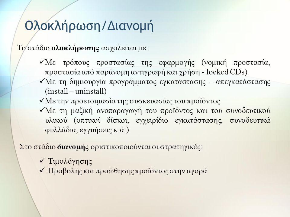 Υλοποίηση Στη φάση υλοποίησης υλοποιούνται: Η συγγραφή και η διόρθωση του κώδικα της εφαρμογής Η δημιουργία ή συγκέντρωση, η επεξεργασία κειμένων, εικ