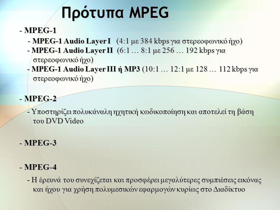 Πρότυπο MPEG-1 Audio Η ομάδα MPEG (Motion Picture Expert Group) έχει δημιουργήσει διάφορα πρότυπα για τη συμπίεση ήχου και βίντεο. Ένα από αυτά είναι