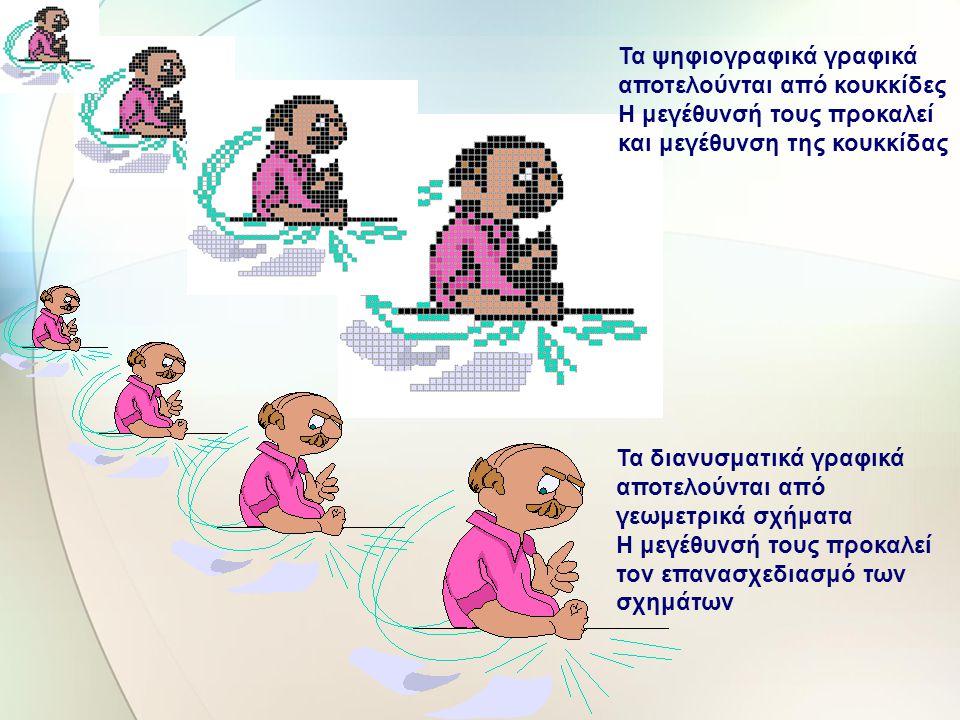 Κατηγορίες Γραφικών Διανυσματικά Γραφικά (vector graphics) Χαρτογραφικά Γραφικά (bitmap graphics) Τα διανυσματικά γραφικά – εικόνες συντίθενται από γε