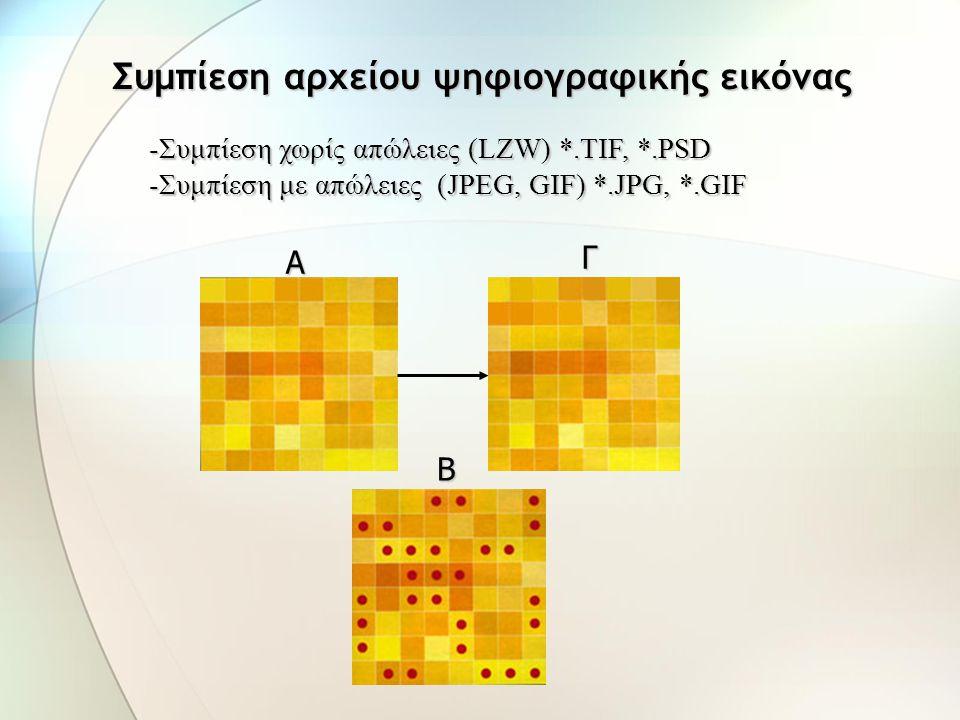 = (αριθμός pixels) x (βάθος χρώματος) = [(pixels κατά πλάτος) x (pixels κατά ύψος)] x (βάθος χρώματος) = [(ανάλυση x πλάτος) x (ανάλυση x ύψος)] x (βά