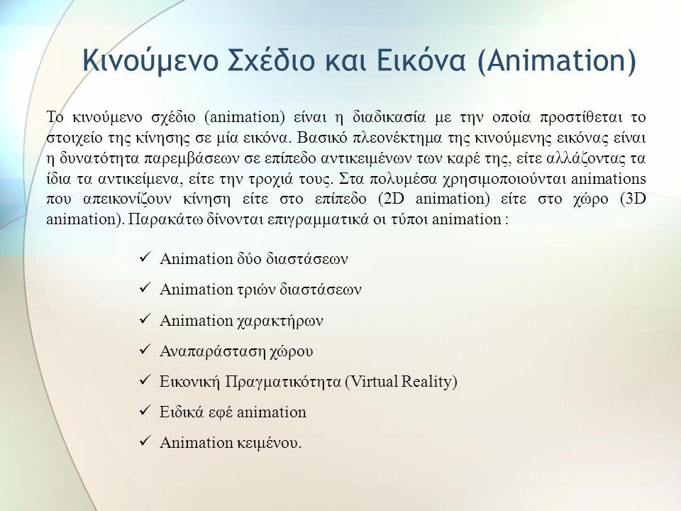 α. Σχεδιοκίνηση περιεχομένου Σχεδιοκίνηση (animation) β. Σχεδιοκίνηση περιβάλλοντος Χρήση - Προσομοίωση διαδικασιών ή μοντέλων - Έμφαση σε συγκεκριμέν