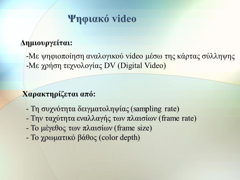 α) Διαπλεκόμενη σάρωση (interlaced) 1 3 5 7 9 11 2 4 6 8 10 12 or non β) Συνεχής σάρωση (progressive or non interlaced) upper field lower field Τύποι