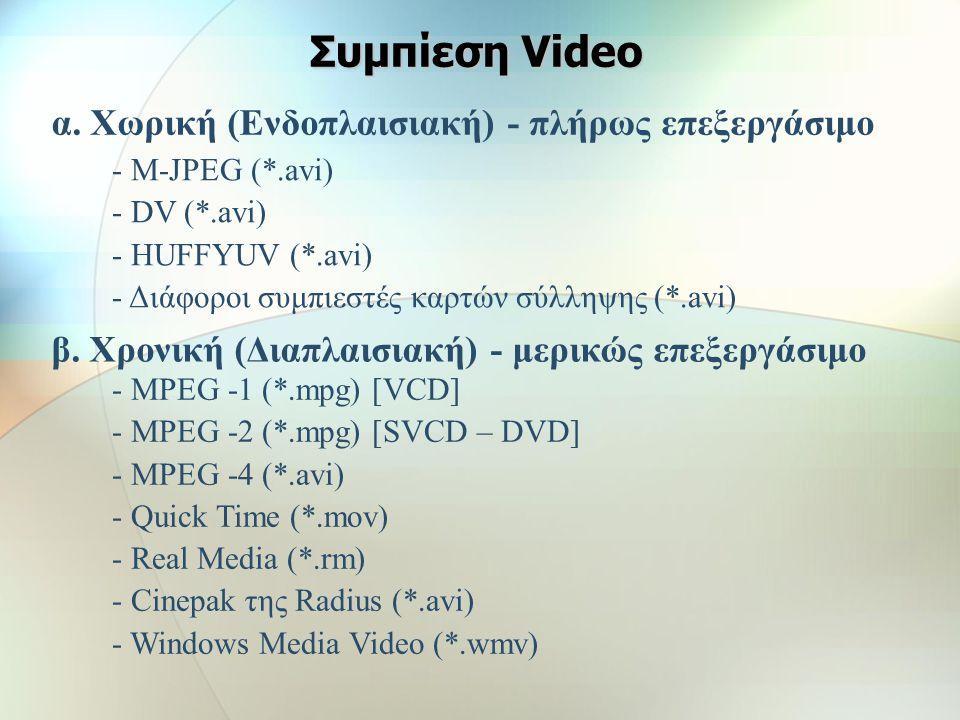 Μέθοδοι συμπίεσης video (compressor/decompressor ή codec) Χωρική συμπίεση (Ενδοπλαισιακή) εφαρμόζεται στα δεδομένα ενός μόνου πλαισίουΧωρική συμπίεση