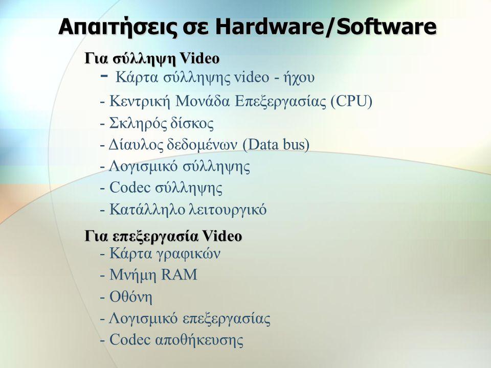 Οι γνωστότεροι MPEG codecs MPEG-1 MPEG-1, PAL, 352x288, 25 fps, CBR (Constant bitrate) 1.150 kbits/sec MPEG-1 Audio Layer II, 44100Hz, Stereo, 224kbit