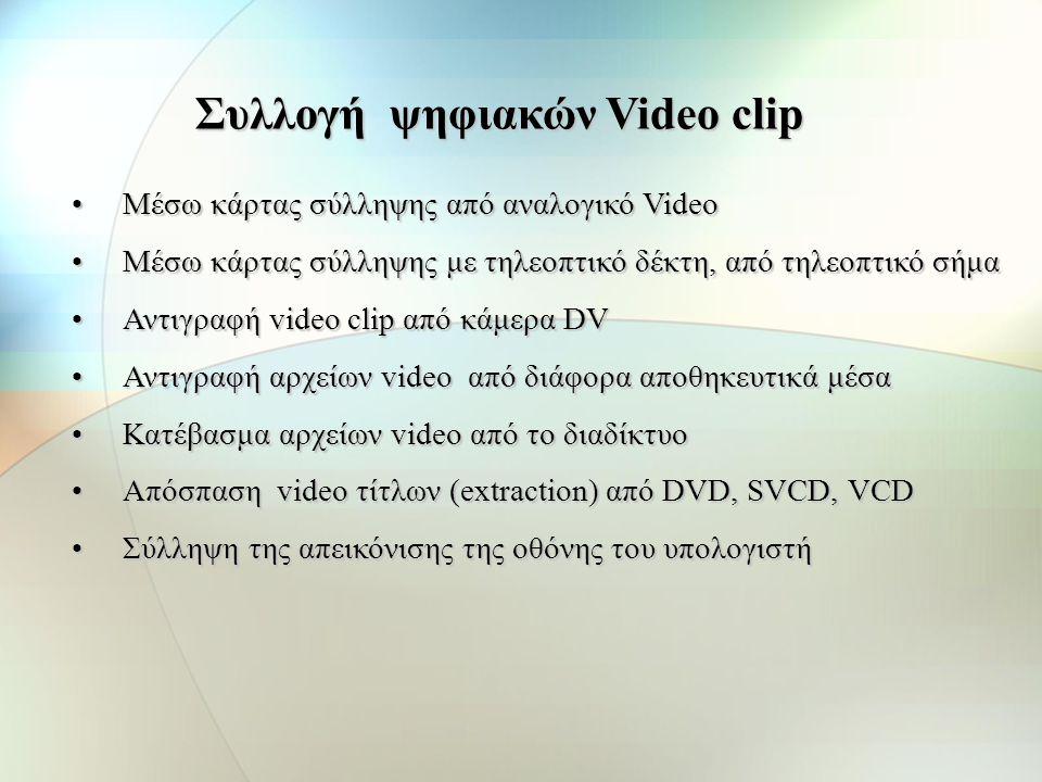 Για σύλληψη Video - Κάρτα σύλληψης video - ήχου - Κεντρική Μονάδα Επεξεργασίας (CPU) - Σκληρός δίσκος - Δίαυλος δεδομένων (Data bus) - Λογισμικό σύλλη