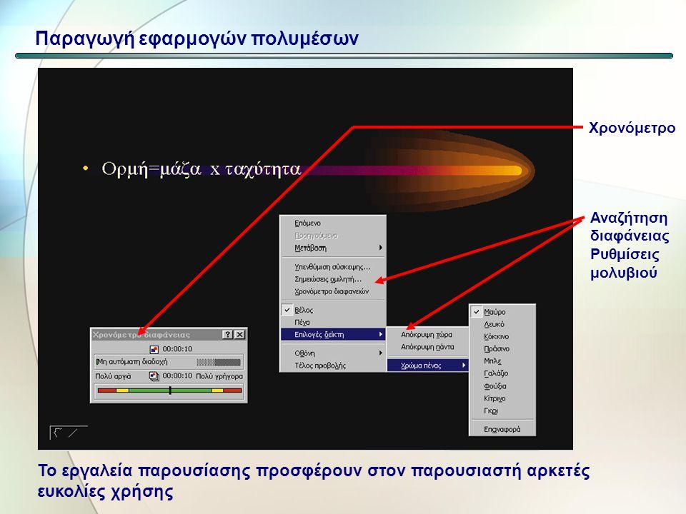 Εργαλεία παρουσίασης (πχ Microsoft Powerpoint Διαδοχή διαφανειών με γραφικά ήχο κλπ. Ευκολίες στον παρουσιαστή (αναζήτηση διαφανειών, εισαγωγή σημειώσ
