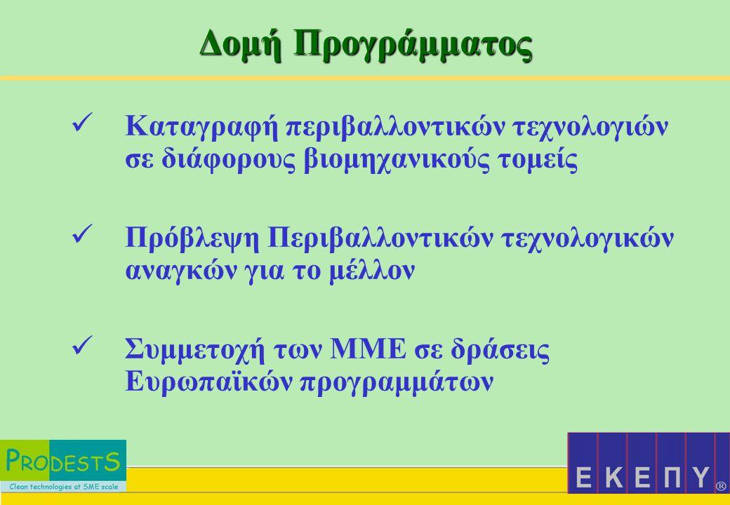 Εμπλοκή της ΕΚΕΠΥ Κ αταγραφή της υπάρχουσας κατάστασης στις Ελληνικές ΜΜΕ σε θέματα τεχνολογιών περιβάλλοντος στον τομέα των υλικών και στην προτροπή των ΜΜΕ να συμμετάσχουν στο Δίκτυο  Οργάνωση ημερίδων για την προώθηση του δικτύου  Παροχή πληροφοριών από και προς το Δίκτυο από τοπικές ΜΜΕ  Συμμετοχή στην υποβολή ερευνητικών / επιδεικτικών προτάσεων για χρηματοδότηση από την ΕΕ