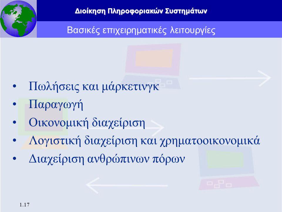 Διοίκηση Πληροφοριακών Συστημάτων 1.17 Πωλήσεις και μάρκετινγκ Παραγωγή Οικονομική διαχείριση Λογιστική διαχείριση και χρηματοοικονομικά Διαχείριση αν