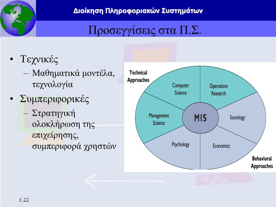 Διοίκηση Πληροφοριακών Συστημάτων 1.22 Προσεγγίσεις στα Π.Σ. Τεχνικές –Μαθηματικά μοντέλα, τεχνολογία Συμπεριφορικές –Στρατηγική ολοκλήρωση της επιχεί