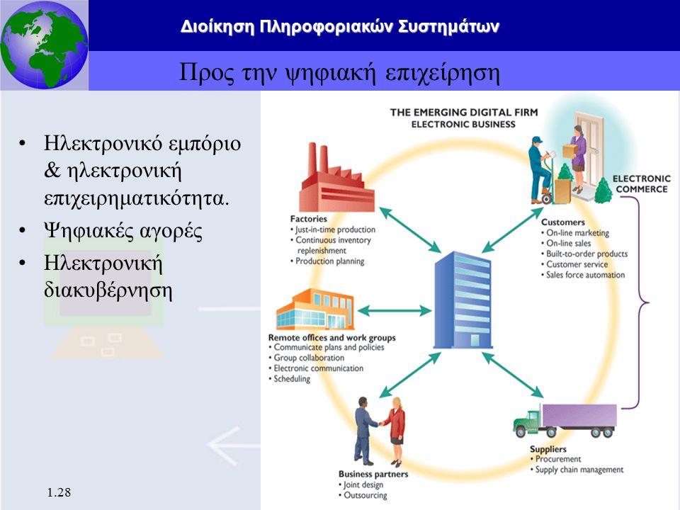 Διοίκηση Πληροφοριακών Συστημάτων 1.29 Θετικές επιπτώσεις των Πληροφοριακών Συστημάτων Ευκολία διαχείρισης πληροφοριών Ανάλυση προτύπων αγορών και προτιμήσεων των πελατών Αποδοτικότερες διαδικασίες Ιατρική πρόοδος Ακαριαία διανομή πληροφορίας σε παγκόσμιο επίπεδο.