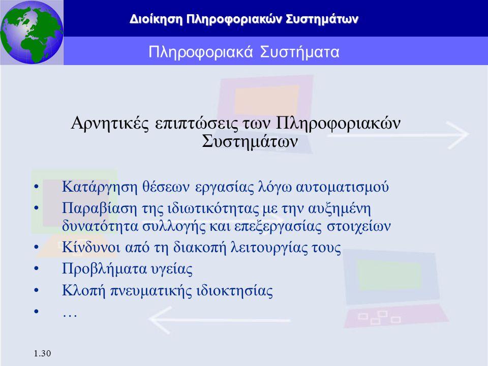 Διοίκηση Πληροφοριακών Συστημάτων 1.31 Προκλήσεις για τη διοίκηση Π.Σ.