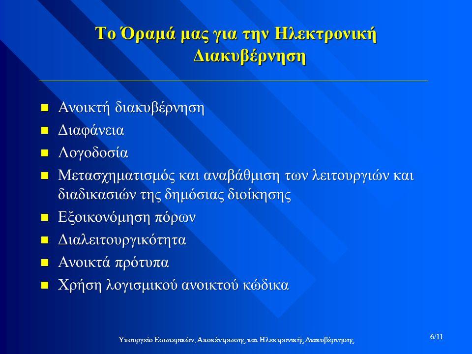 Υπουργείο Εσωτερικών, Αποκέντρωσης και Ηλεκτρονικής Διακυβέρνησης 6/11 Το Όραμά μας για την Ηλεκτρονική Διακυβέρνηση n Ανοικτή διακυβέρνηση n Διαφάνεια n Λογοδοσία n Μετασχηματισμός και αναβάθμιση των λειτουργιών και διαδικασιών της δημόσιας διοίκησης n Εξοικονόμηση πόρων n Διαλειτουργικότητα n Ανοικτά πρότυπα n Χρήση λογισμικού ανοικτού κώδικα