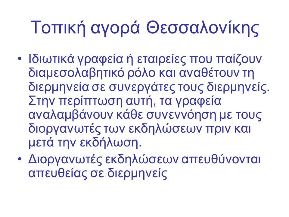 Τοπική αγοράΘεσσαλονίκης Ιδιωτικά γραφεία ή εταιρείες που παίζουν διαμεσολαβητικό ρόλο και αναθέτουν τη διερμηνεία σε συνεργάτες τους διερμηνείς.