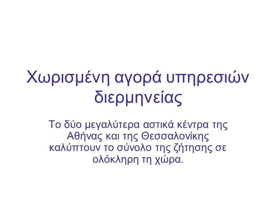 Χωρισμένη αγορά υπηρεσιών διερμηνείας Το δύο μεγαλύτερα αστικά κέντρα της Αθήνας και της Θεσσαλονίκης καλύπτουν το σύνολο της ζήτησης σε ολόκληρη τη χώρα.