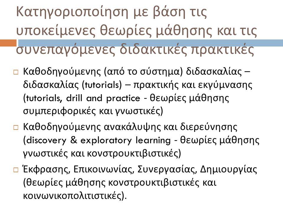  Καθοδηγούμενης ( από το σύστημα ) διδασκαλίας – διδασκαλίας (tutorials) – πρακτικής και εκγύμνασης (tutorials, drill and practice - θεωρίες μάθησης συμπεριφορικές και γνωστικές )  Καθοδηγούμενης ανακάλυψης και διερεύνησης (discovery & exploratory learning - θεωρίες μάθησης γνωστικές και κονστρουκτιβιστικές )  Έκφρασης, Επικοινωνίας, Συνεργασίας, Δημιουργίας ( θεωρίες μάθησης κονστρουκτιβιστικές και κοινωνικοπολιτιστικές ).