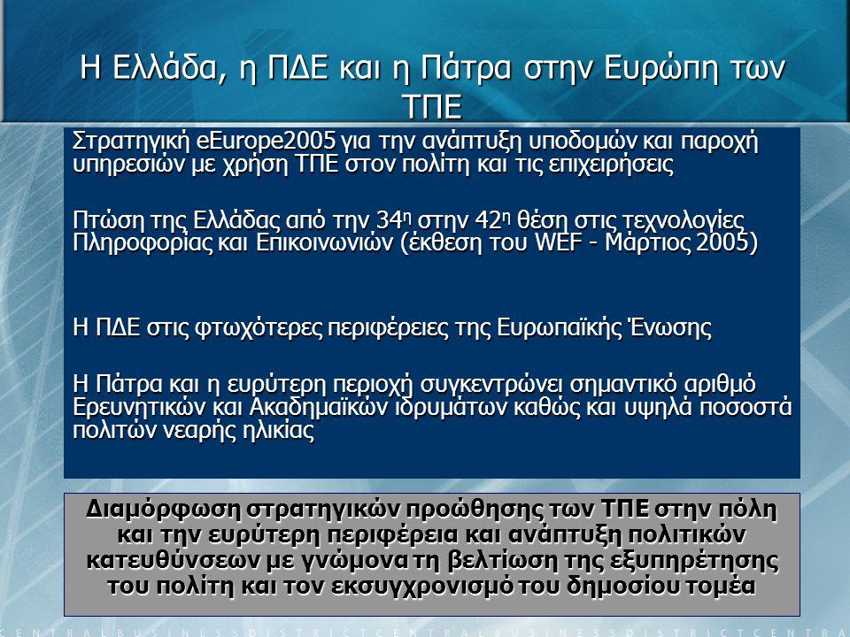 Η Ελλάδα, η ΠΔΕ και η Πάτρα στην Ευρώπη των ΤΠΕ Στρατηγική eEurope2005 για την ανάπτυξη υποδομών και παροχή υπηρεσιών με χρήση ΤΠΕ στον πολίτη και τις επιχειρήσεις Πτώση της Ελλάδας από την 34 η στην 42 η θέση στις τεχνολογίες Πληροφορίας και Επικοινωνιών (έκθεση του WEF - Μάρτιος 2005) Η ΠΔΕ στις φτωχότερες περιφέρειες της Ευρωπαϊκής Ένωσης Η Πάτρα και η ευρύτερη περιοχή συγκεντρώνει σημαντικό αριθμό Ερευνητικών και Ακαδημαϊκών ιδρυμάτων καθώς και υψηλά ποσοστά πολιτών νεαρής ηλικίας Διαμόρφωση στρατηγικών προώθησης των ΤΠΕ στην πόλη και την ευρύτερη περιφέρεια και ανάπτυξη πολιτικών κατευθύνσεων με γνώμονα τη βελτίωση της εξυπηρέτησης του πολίτη και τον εκσυγχρονισμό του δημοσίου τομέα