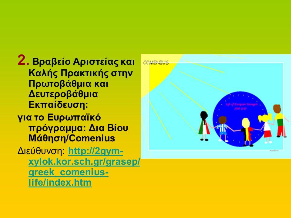 2. Βραβείο Αριστείας και Καλής Πρακτικής στην Πρωτοβάθμια και Δευτεροβάθμια Εκπαίδευση: για το Ευρωπαϊκό πρόγραμμα: Δια Βίου Μάθηση/Comenius Διεύθυνση