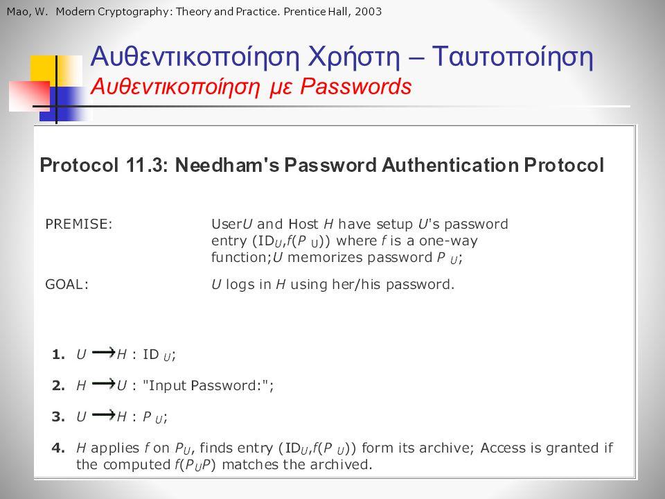 Αυθεντικοποίηση Χρήστη – Ταυτοποίηση Αυθεντικοποίηση με Passwords Mao, W. Modern Cryptography: Theory and Practice. Prentice Hall, 2003