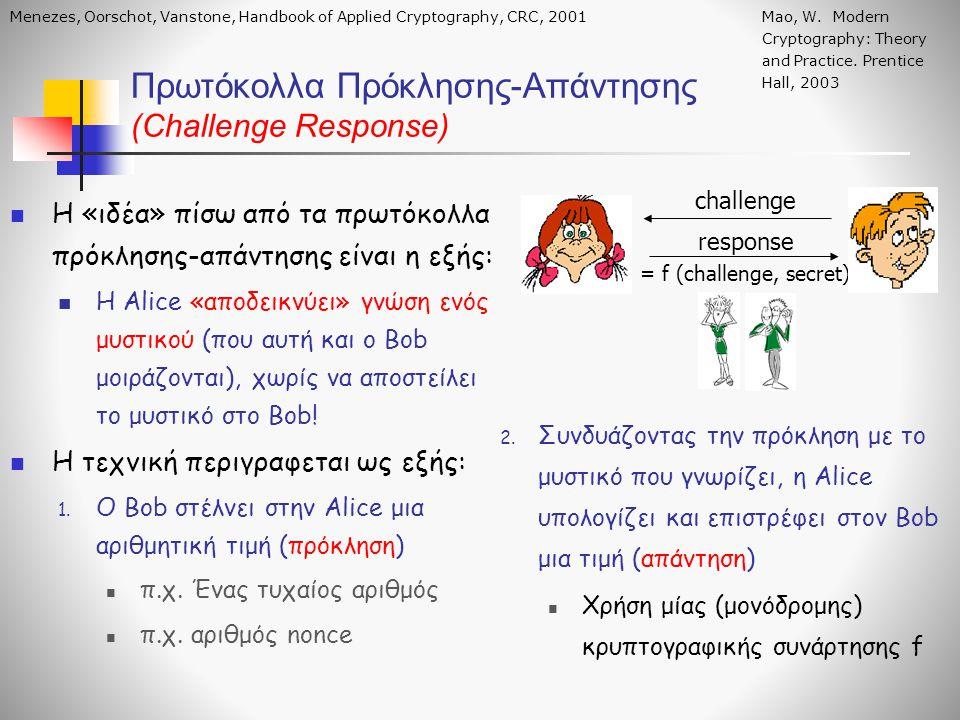 H «ιδέα» πίσω από τα πρωτόκολλα πρόκλησης-απάντησης είναι η εξής: Η Alice «αποδεικνύει» γνώση ενός μυστικού (που αυτή και ο Bob μοιράζονται), χωρίς να
