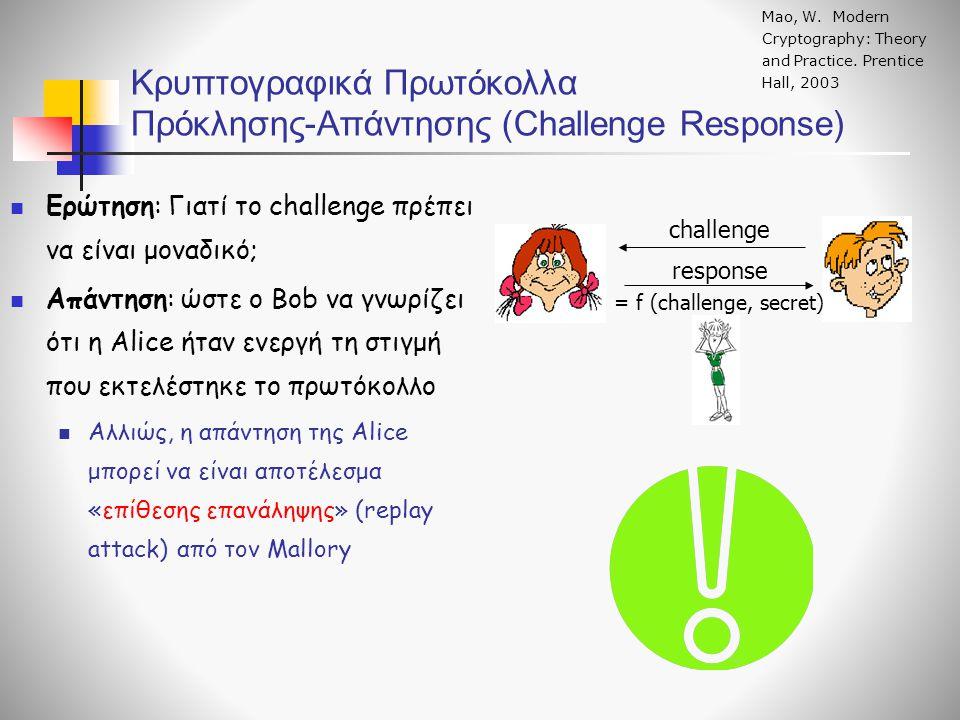 Κρυπτογραφικά Πρωτόκολλα Πρόκλησης-Απάντησης (Challenge Response) challenge response = f (challenge, secret) Mao, W. Modern Cryptography: Theory and P