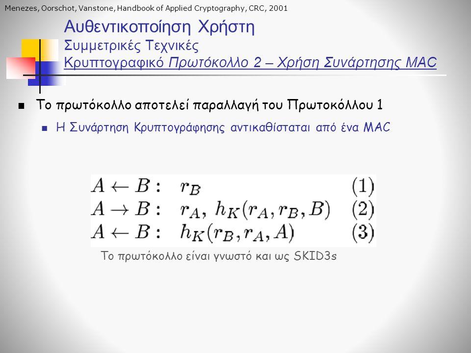 Αυθεντικοποίηση Χρήστη Συμμετρικές Τεχνικές Κρυπτογραφικό Πρωτόκολλο 2 – Χρήση Συνάρτησης MAC Το πρωτόκολλο αποτελεί παραλλαγή του Πρωτοκόλλου 1 Η Συν